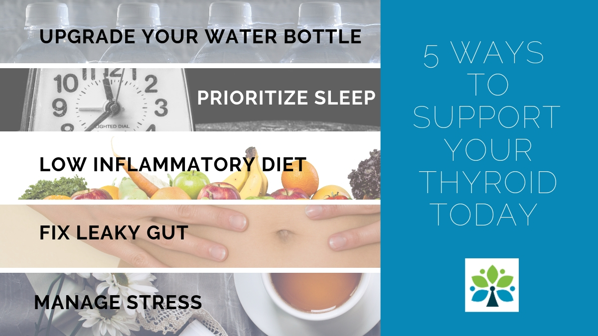 5 Ways to Naturally Support Your Thyroid. Be sure you ditch the plastic water bottles, get enough sleep each night, eat a real food, low inflammatory diet, fix leaky gut and manage stress.