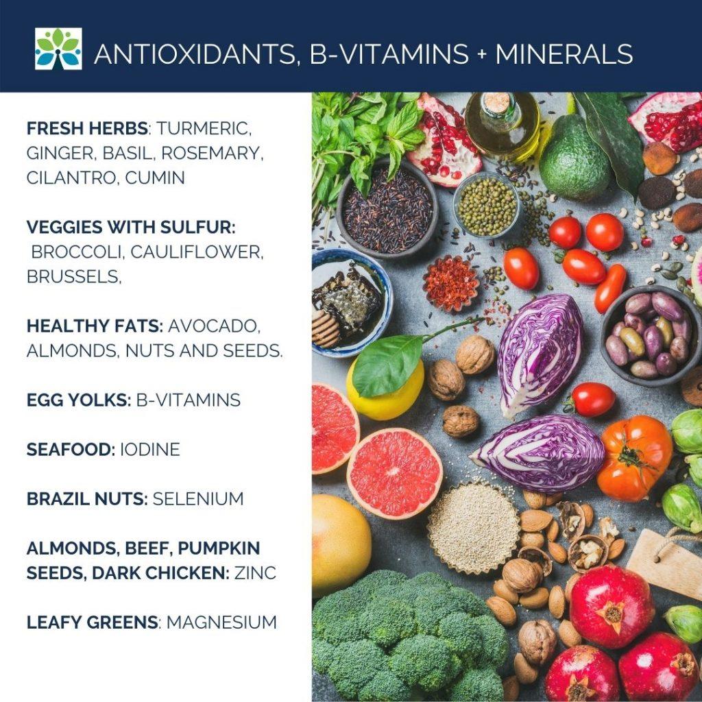 Image: Photograph of colorful produce. Text: Antioxidants, B-Vitamins + Minerals. Fresh herbs: turmeric, ginger, basil, rosemary, cilantro, cumin   Veggies with sulfur:  broccoli, cauliflower, brussels,   healthy fats: avocado, almonds, nuts and seeds.  egg yolks: B-Vitamins  Seafood: Iodine  Brazil Nuts: SELENIUM  ALMONDS, BEEF, PUMPKIN SEEDS, DARK CHICKEN: ZINC  leafy greens: MAGNESIUM